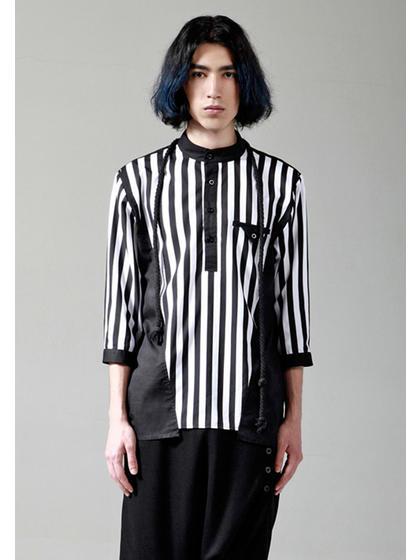 y-vison圆领结构条纹衬衫
