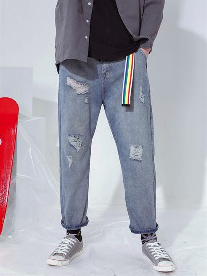 BAIJUAN|白卷BAIJUAN|男款|牛仔褲|白卷BAIJUAN   寬松貓須破洞小腳褲