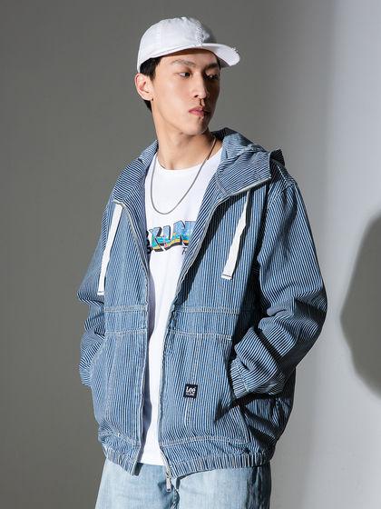 Lee|男款|夾克|Lee X-LINE系列男士條紋連帽開衫夾克