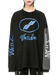 WE11 DONE|男|女|WE11 DONE BLACK REMAKE LOGO LONG SLEEVE T-SHIRT