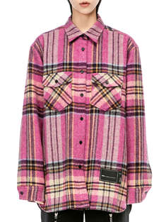 WE11 DONE|男|女|WE11 DONE WD PINK CHECK WOOL SHIRT